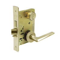 8243-LNF-04 Sargent 8200 Series Apartment Corridor Mortise Lock with LNF Lever Trim and Deadbolt in Satin Brass