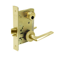 LC-8204-LNF-03 Sargent 8200 Series Storeroom or Closet Mortise Lock with LNF Lever Trim Less Cylinder in Bright Brass