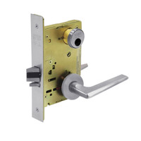 LC-8255-LNF-26D Sargent 8200 Series Office or Entry Mortise Lock with LNF Lever Trim Less Cylinder in Satin Chrome