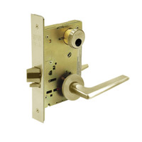 LC-8267-LNF-04 Sargent 8200 Series Institutional Privacy Mortise Lock with LNF Lever Trim Less Cylinder in Satin Brass