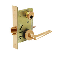 LC-8267-LNF-10 Sargent 8200 Series Institutional Privacy Mortise Lock with LNF Lever Trim Less Cylinder in Dull Bronze