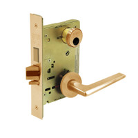 LC-8224-LNF-10 Sargent 8200 Series Room Door Mortise Lock with LNF Lever Trim and Deadbolt Less Cylinder in Dull Bronze