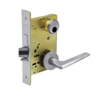 LC-8227-LNF-26D Sargent 8200 Series Closet or Storeroom Mortise Lock with LNF Lever Trim and Deadbolt Less Cylinder in Satin Chrome