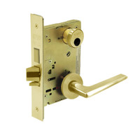 LC-8227-LNF-03 Sargent 8200 Series Closet or Storeroom Mortise Lock with LNF Lever Trim and Deadbolt Less Cylinder in Bright Brass