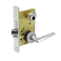 LC-8235-LNF-26 Sargent 8200 Series Storeroom Mortise Lock with LNF Lever Trim and Deadbolt Less Cylinder in Bright Chrome