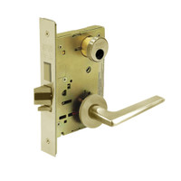 LC-8235-LNF-04 Sargent 8200 Series Storeroom Mortise Lock with LNF Lever Trim and Deadbolt Less Cylinder in Satin Brass