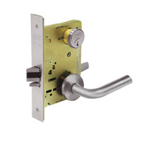 8267-LNW-32D Sargent 8200 Series Institutional Privacy Mortise Lock with LNW Lever Trim in Satin Stainless Steel