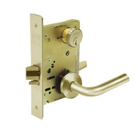 8289-LNW-04 Sargent 8200 Series Holdback Mortise Lock with LNW Lever Trim in Satin Brass