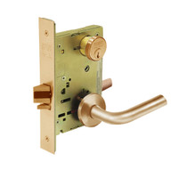 8289-LNW-10 Sargent 8200 Series Holdback Mortise Lock with LNW Lever Trim in Dull Bronze
