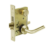 8227-LNW-04 Sargent 8200 Series Closet or Storeroom Mortise Lock with LNW Lever Trim and Deadbolt in Satin Brass