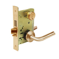 8227-LNW-10 Sargent 8200 Series Closet or Storeroom Mortise Lock with LNW Lever Trim and Deadbolt in Dull Bronze