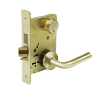 8235-LNW-04 Sargent 8200 Series Storeroom Mortise Lock with LNW Lever Trim and Deadbolt in Satin Brass