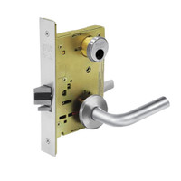 LC-8204-LNW-26 Sargent 8200 Series Storeroom or Closet Mortise Lock with LNW Lever Trim Less Cylinder in Bright Chrome