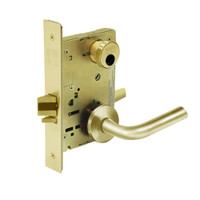 LC-8204-LNW-03 Sargent 8200 Series Storeroom or Closet Mortise Lock with LNW Lever Trim Less Cylinder in Bright Brass