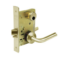 LC-8204-LNW-04 Sargent 8200 Series Storeroom or Closet Mortise Lock with LNW Lever Trim Less Cylinder in Satin Brass