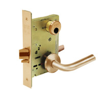 LC-8205-LNW-10 Sargent 8200 Series Office or Entry Mortise Lock with LNW Lever Trim Less Cylinder in Dull Bronze