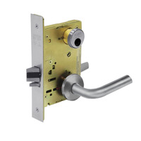 LC-8255-LNW-26D Sargent 8200 Series Office or Entry Mortise Lock with LNW Lever Trim Less Cylinder in Satin Chrome