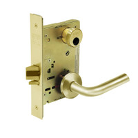 LC-8236-LNW-03 Sargent 8200 Series Closet Mortise Lock with LNW Lever Trim Less Cylinder in Bright Brass