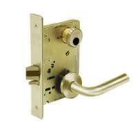 LC-8236-LNW-04 Sargent 8200 Series Closet Mortise Lock with LNW Lever Trim Less Cylinder in Satin Brass