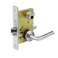 LC-8225-LNW-26 Sargent 8200 Series Dormitory or Exit Mortise Lock with LNW Lever Trim and Deadbolt Less Cylinder in Bright Chrome