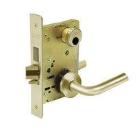 LC-8225-LNW-04 Sargent 8200 Series Dormitory or Exit Mortise Lock with LNW Lever Trim and Deadbolt Less Cylinder in Satin Brass