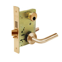 LC-8225-LNW-10 Sargent 8200 Series Dormitory or Exit Mortise Lock with LNW Lever Trim and Deadbolt Less Cylinder in Dull Bronze