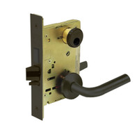 LC-8225-LNW-10B Sargent 8200 Series Dormitory or Exit Mortise Lock with LNW Lever Trim and Deadbolt Less Cylinder in Oxidized Dull Bronze