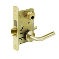 LC-8252-LNW-03 Sargent 8200 Series Institutional Mortise Lock with LNW Lever Trim Less Cylinder in Bright Brass