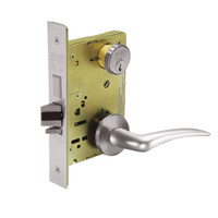 8251-LNA-32D-RH Sargent 8200 Series Storeroom Deadbolt Mortise Lock with LNA Lever Trim and Deadbolt in Satin Stainless Steel
