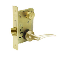 8252-LNA-03-RH Sargent 8200 Series Institutional Mortise Lock with LNA Lever Trim and Deadbolt in Bright Brass