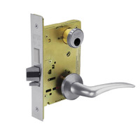 LC-8243-LNA-26D-LH Sargent 8200 Series Apartment Corridor Mortise Lock with LNA Lever Trim and Deadbolt Less Cylinder in Satin Chrome
