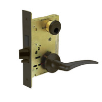 LC-8252-LNA-10B-LH Sargent 8200 Series Institutional Mortise Lock with LNA Lever Trim and Deadbolt Less Cylinder in Oxidized Dull Bronze