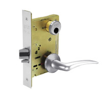LC-8255-LNA-26-RH Sargent 8200 Series Office or Entry Mortise Lock with LNA Lever Trim Less Cylinder in Bright Chrome