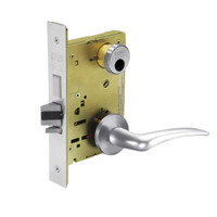 LC-8225-LNA-26-RH Sargent 8200 Series Dormitory or Exit Mortise Lock with LNA Lever Trim and Deadbolt Less Cylinder in Bright Chrome