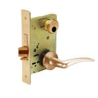 LC-8225-LNA-10-RH Sargent 8200 Series Dormitory or Exit Mortise Lock with LNA Lever Trim and Deadbolt Less Cylinder in Dull Bronze
