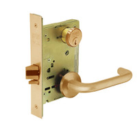 8289-LNJ-10 Sargent 8200 Series Holdback Mortise Lock with LNJ Lever Trim in Dull Bronze