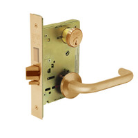 8224-LNJ-10 Sargent 8200 Series Room Door Mortise Lock with LNJ Lever Trim and Deadbolt in Dull Bronze