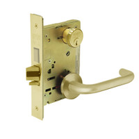 8235-LNJ-03 Sargent 8200 Series Storeroom Mortise Lock with LNJ Lever Trim and Deadbolt in Bright Brass
