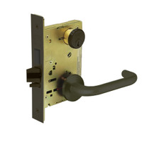 8243-LNJ-10B Sargent 8200 Series Apartment Corridor Mortise Lock with LNJ Lever Trim and Deadbolt in Oxidized Dull Bronze