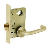 8213-LNJ-03 Sargent 8200 Series Communication or Exit Mortise Lock with LNJ Lever Trim in Bright Brass