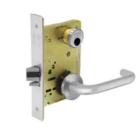 LC-8204-LNJ-26 Sargent 8200 Series Storeroom or Closet Mortise Lock with LNJ Lever Trim Less Cylinder in Bright Chrome