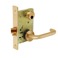 LC-8204-LNJ-10 Sargent 8200 Series Storeroom or Closet Mortise Lock with LNJ Lever Trim Less Cylinder in Dull Bronze