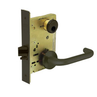 LC-8267-LNJ-10B Sargent 8200 Series Institutional Privacy Mortise Lock with LNJ Lever Trim Less Cylinder in Oxidized Dull Bronze