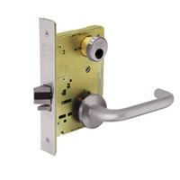 LC-8289-LNJ-32D Sargent 8200 Series Holdback Mortise Lock with LNJ Lever Trim Less Cylinder in Satin Stainless Steel