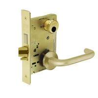 LC-8235-LNJ-03 Sargent 8200 Series Storeroom Mortise Lock with LNJ Lever Trim and Deadbolt Less Cylinder in Bright Brass
