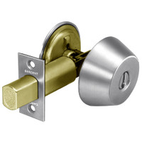 28-486-26 Sargent 480 Series Single Cylinder Auxiliary Deadbolt Lock with Blank Plate in Bright Chrome