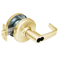 CL3581-NZD-605-CL7 Corbin CL3500 Series IC 7-Pin Less Core Heavy Duty Keyed with Blank Plate Cylindrical Locksets with Newport Lever in Bright Brass Finish