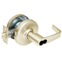 CL3581-NZD-606-CL7 Corbin CL3500 Series IC 7-Pin Less Core Heavy Duty Keyed with Blank Plate Cylindrical Locksets with Newport Lever in Satin Brass Finish