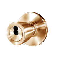8K37W6AS3611 Best 8K Series Institutional Heavy Duty Cylindrical Knob Locks with Tulip Style in Bright Bronze