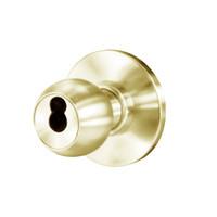 8K37W4AS3606 Best 8K Series Institutional Heavy Duty Cylindrical Knob Locks with Round Style in Satin Brass